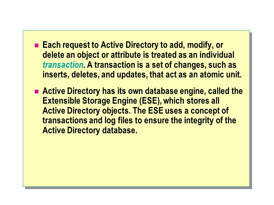 Each request to Active Directory to add, modify, or delete an object or attribute is treated as an individual transaction. A transaction is a set of c