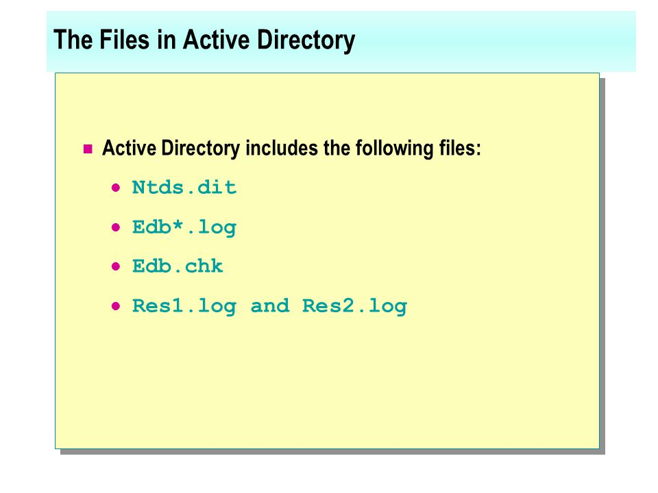 The Files in Active Directory Active Directory includes the following files: Ntds.dit Edb*.log Edb.chk Res1.log and Res2.log