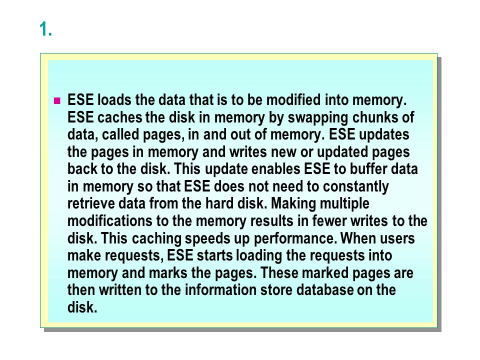 1. ESE loads the data that is to be modified into memory. ESE caches the disk in memory by swapping chunks of data, called pages, in and out of memory