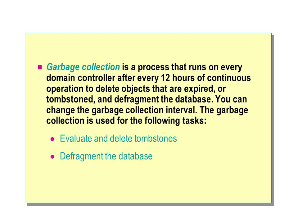 Garbage collection is a process that runs on every domain controller after every 12 hours of continuous operation to delete objects that are expired,