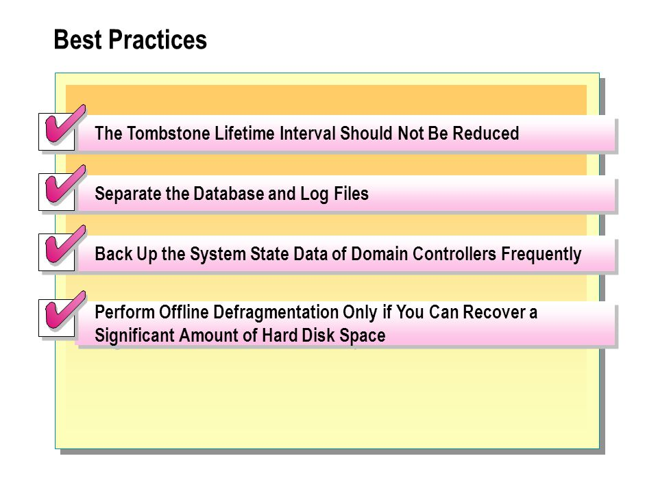 Best Practices The Tombstone Lifetime Interval Should Not Be Reduced Separate the Database and Log Files Perform Offline Defragmentation Only if You C