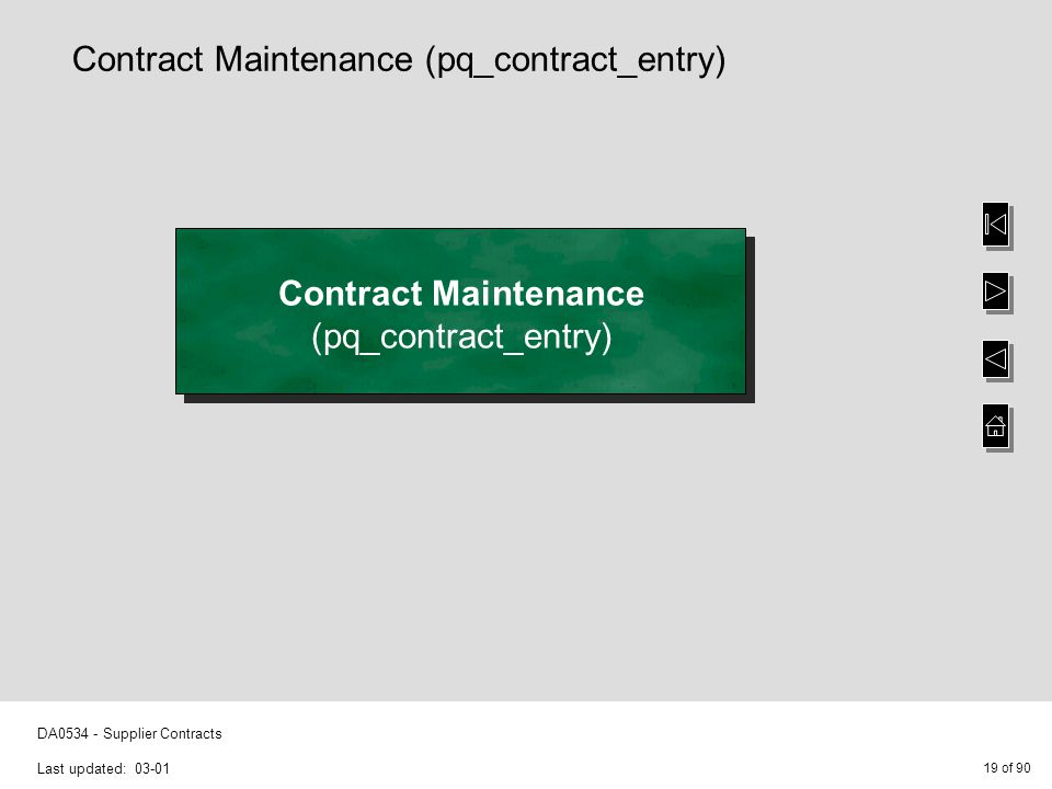 19 of 90 DA0534 - Supplier Contracts Last updated: 03-01 Contract Maintenance (pq_contract_entry) Contract Maintenance (pq_contract_entry)