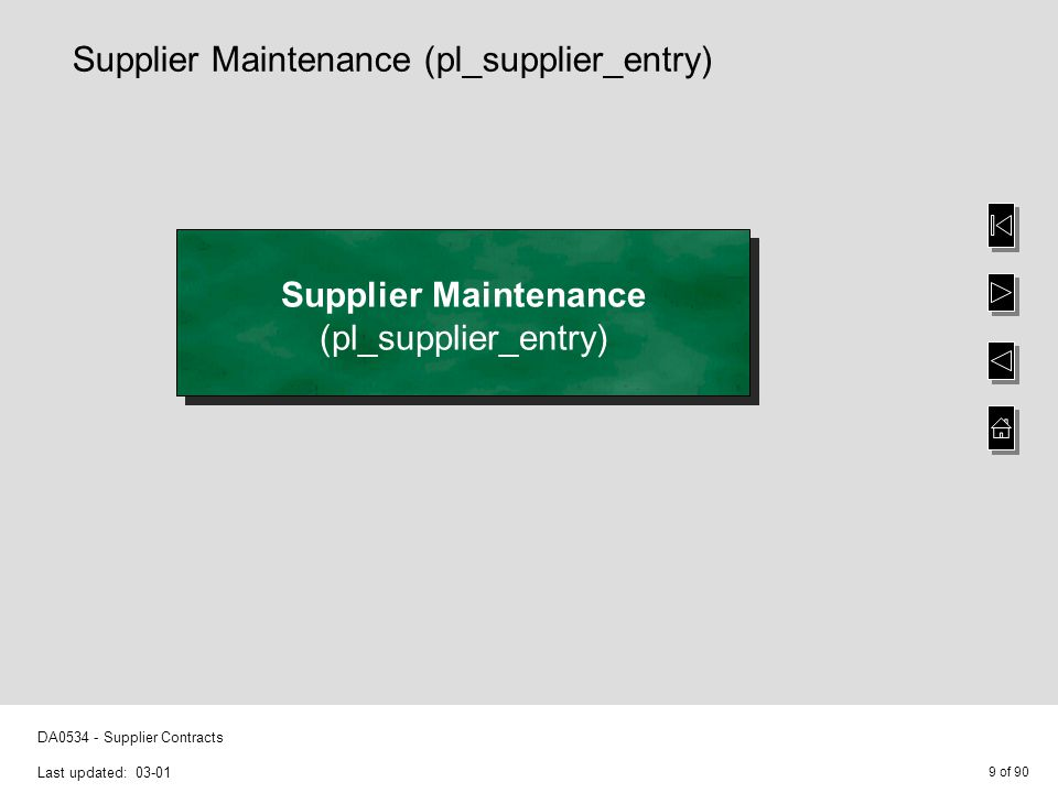 9 of 90 DA0534 - Supplier Contracts Last updated: 03-01 Supplier Maintenance (pl_supplier_entry) Supplier Maintenance (pl_supplier_entry)