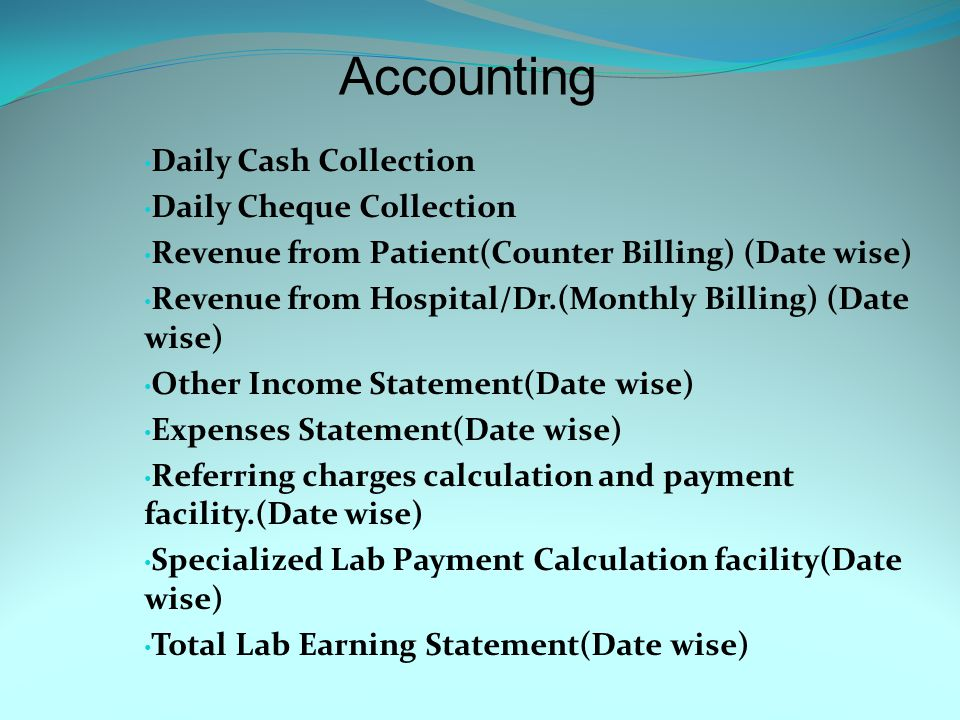 Different Rate list is available for different Referring Dr., Monthly Billing Hospital & Specialized Lab.