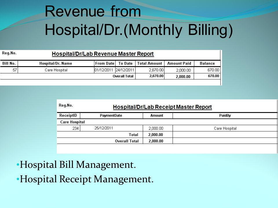 Revenue from Patient(Counter Billing) Patient Bill Management. Patient Receipt Management.