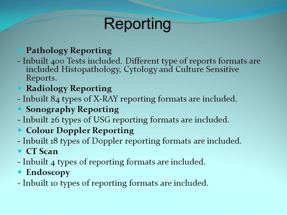 Reporting Pathology Reporting - Inbuilt 400 Tests included.