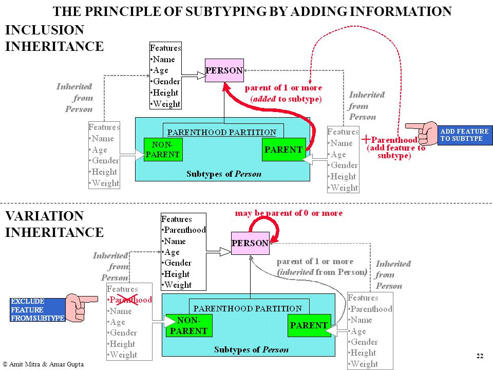 22 © Amit Mitra & Amar Gupta VARIATION INHERITANCE THE PRINCIPLE OF SUBTYPING BY ADDING INFORMATION INCLUSION INHERITANCE