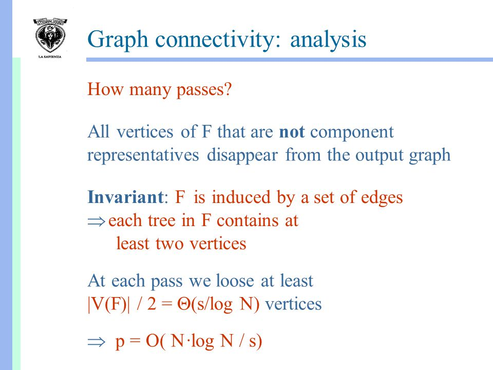 Graph connectivity: analysis How many passes.