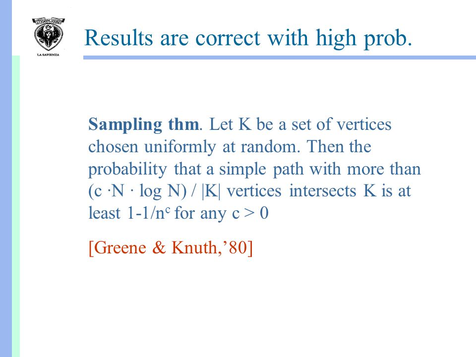 Results are correct with high prob. [Greene & Knuth,'80] Sampling thm.
