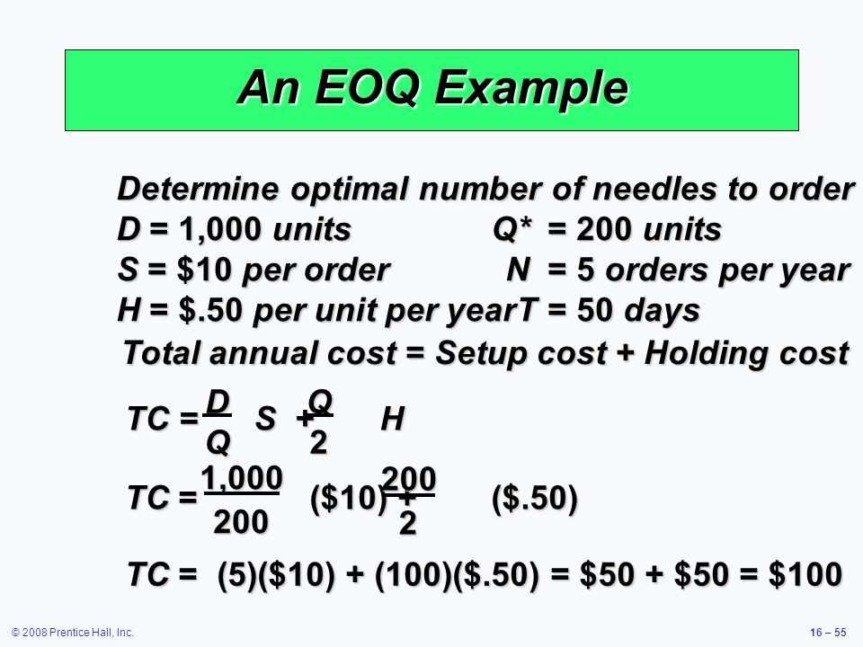 © 2008 Prentice Hall, Inc.16 – 55 An EOQ Example Determine optimal number of needles to order D = 1,000 unitsQ*= 200 units S = $10 per orderN= 5 order