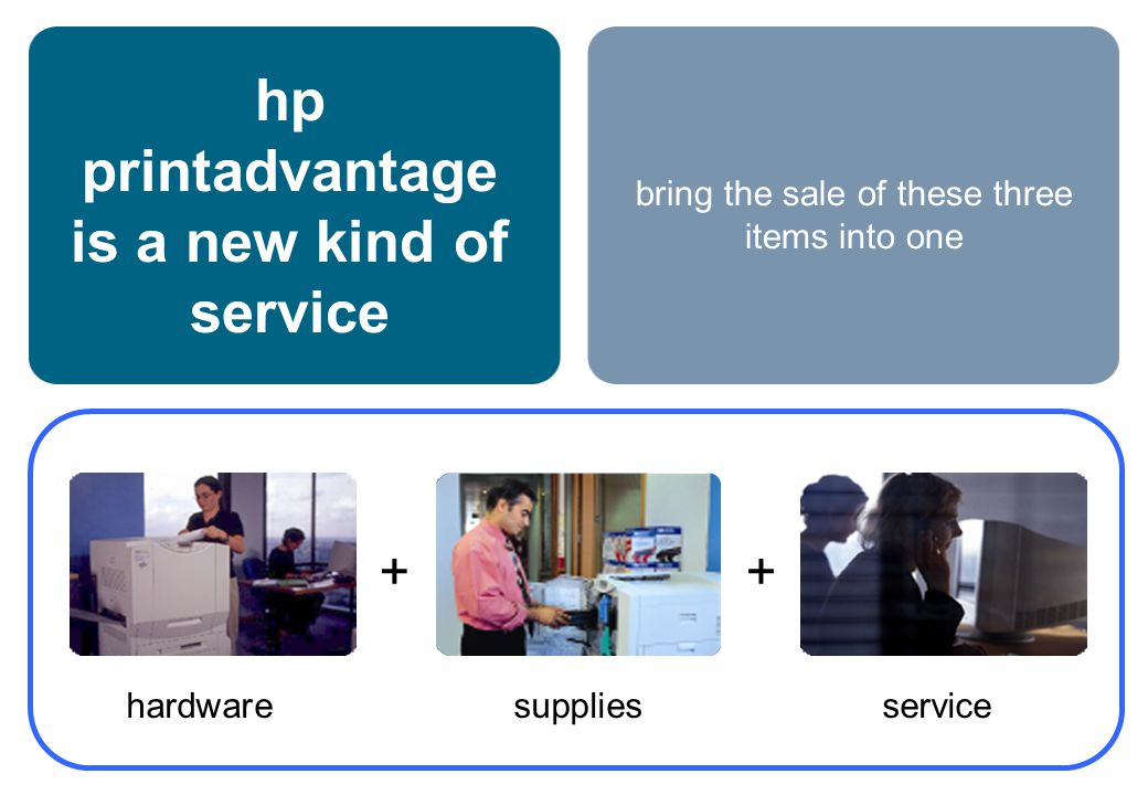 hp printadvantage is a new kind of service hardwaresupplies service ++ bring the sale of these three items into one