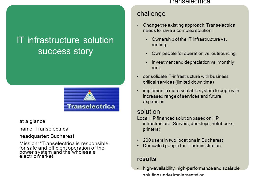 IT infrastructure solution success story Transelectrica challenge Change the existing approach: Transelectrica needs to have a complex solution: Ownership of the IT infrastructure vs.