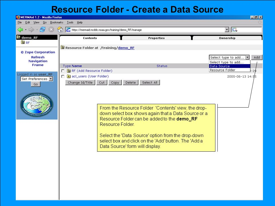 Resource Folder - Create a Data Source From the Resource Folder Contents view, the drop- down select box shows again that a Data Source or a Resource Folder can be added to the demo_RF Resource Folder.
