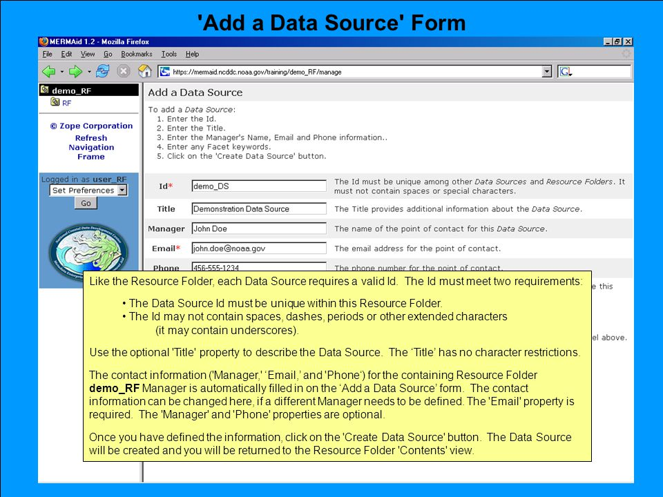 Add a Data Source Form Like the Resource Folder, each Data Source requires a valid Id.