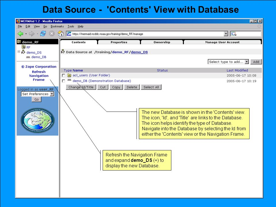Data Source - Contents View with Database The new Database is shown in the Contents view.