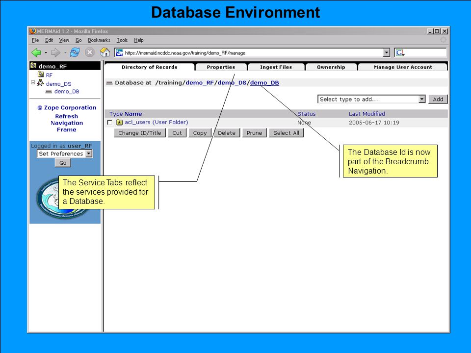 Database Environment The Database Id is now part of the Breadcrumb Navigation.