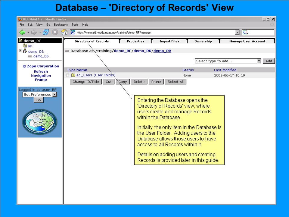 Entering the Database opens the Directory of Records view, where users create and manage Records within the Database.