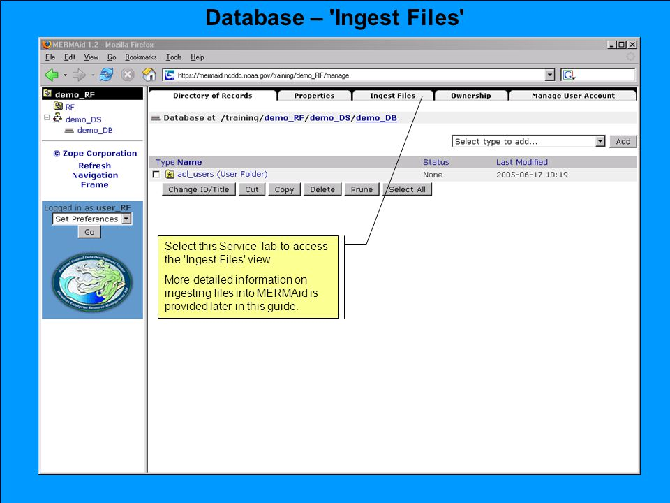 Database – Ingest Files Select this Service Tab to access the Ingest Files view.