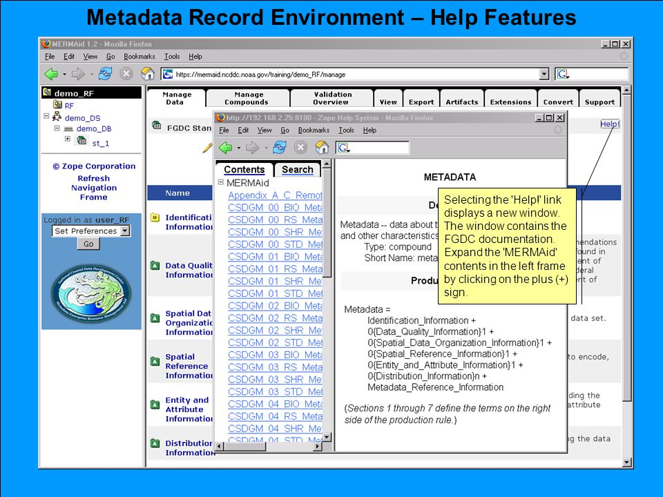 Metadata Record Environment – Help Features Selecting the Help! link displays a new window.