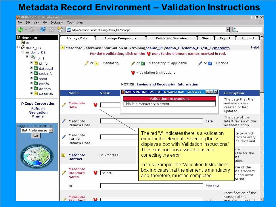 Metadata Record Environment – Validation Instructions The red V indicates there is a validation error for the element.