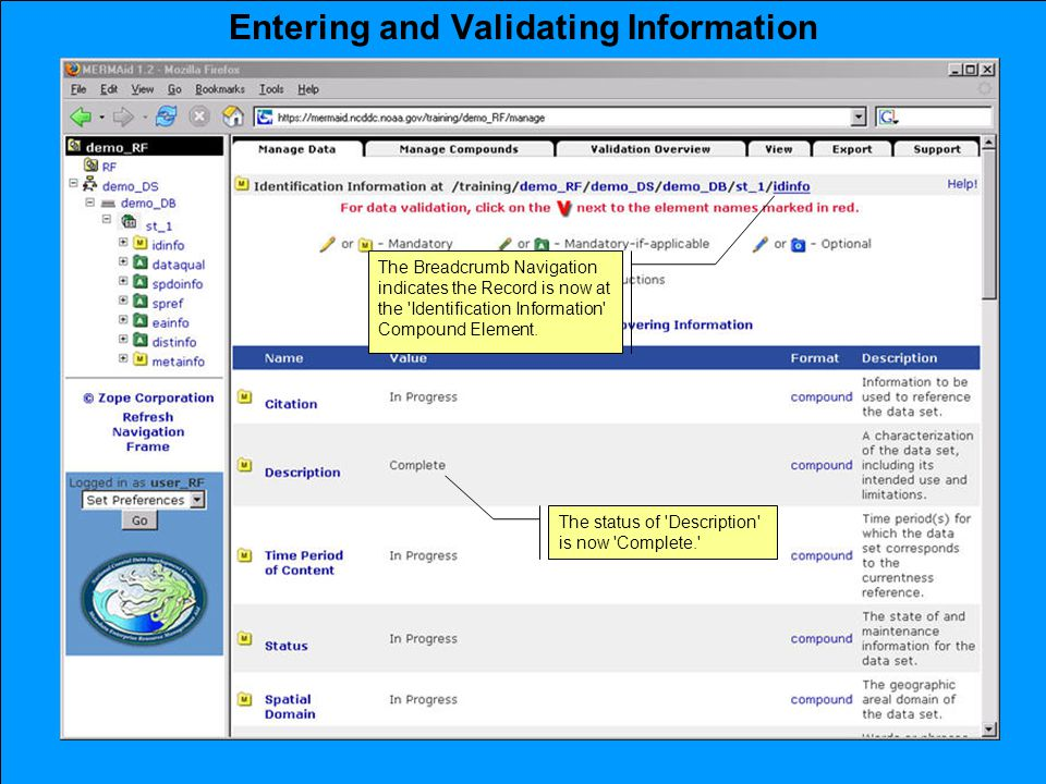 Entering and Validating Information The Breadcrumb Navigation indicates the Record is now at the Identification Information Compound Element.