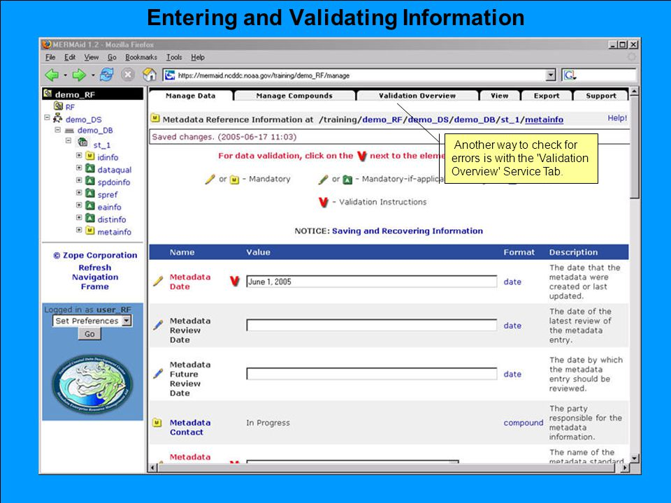 Entering and Validating Information Another way to check for errors is with the Validation Overview Service Tab.