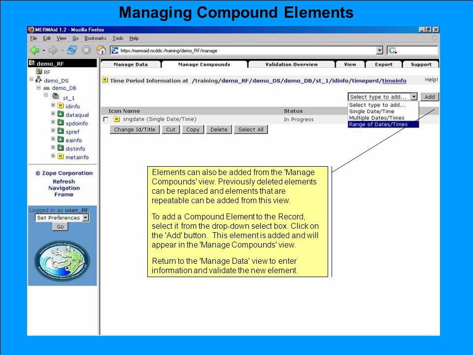 Managing Compound Elements Elements can also be added from the Manage Compounds view.