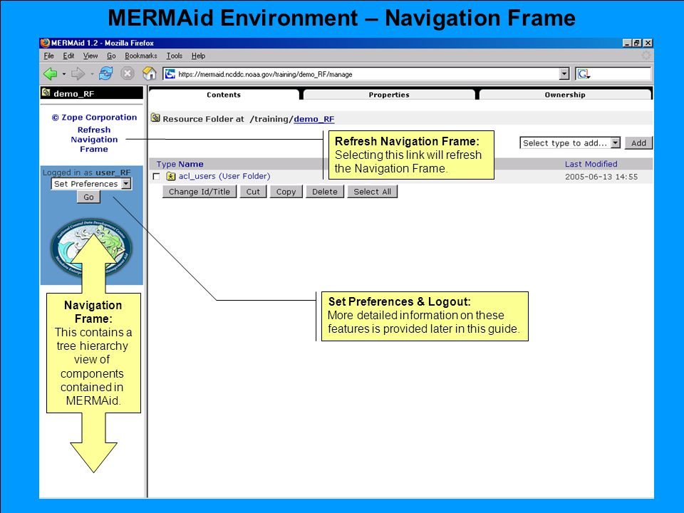 MERMAid Environment – Navigation Frame Navigation Frame: This contains a tree hierarchy view of components contained in MERMAid.