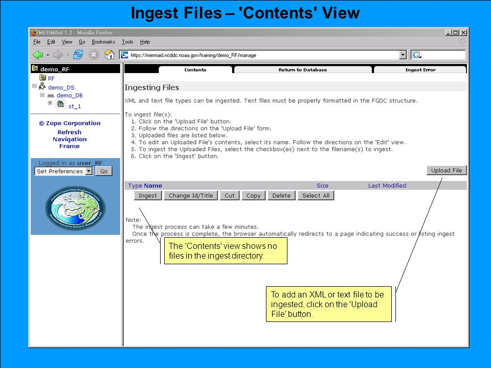 Ingest Files – Contents View To add an XML or text file to be ingested, click on the Upload File button.