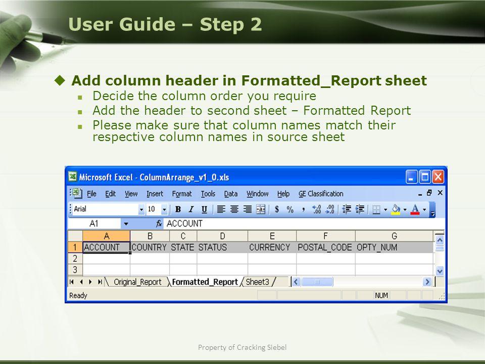 Property of Cracking Siebel  Run the macro Go to the Macro menu Select 'ColumnArranger_Macro' Click Run User Guide – Step 3