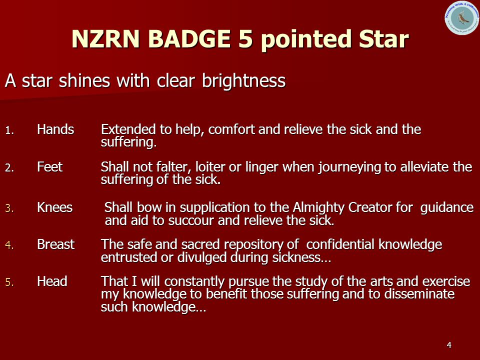 4 NZRN BADGE 5 pointed Star A star shines with clear brightness 1.