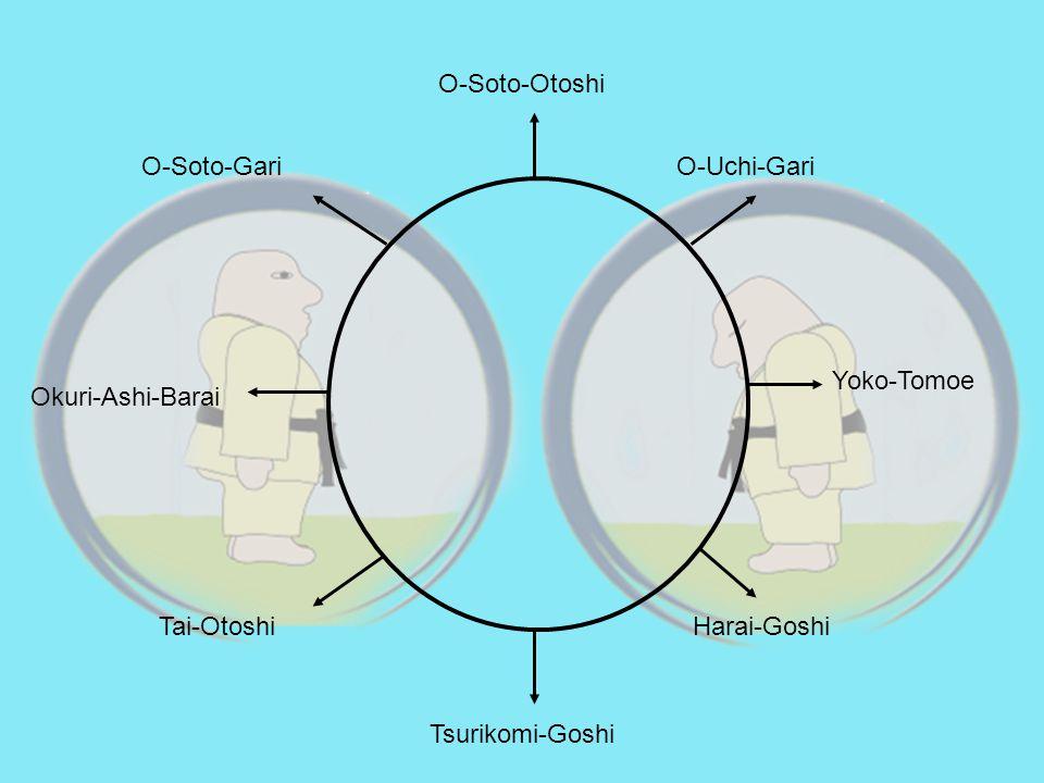 Tsurikomi-Goshi Harai-GoshiTai-Otoshi O-Uchi-GariO-Soto-Gari O-Soto-Otoshi Yoko-Tomoe Okuri-Ashi-Barai