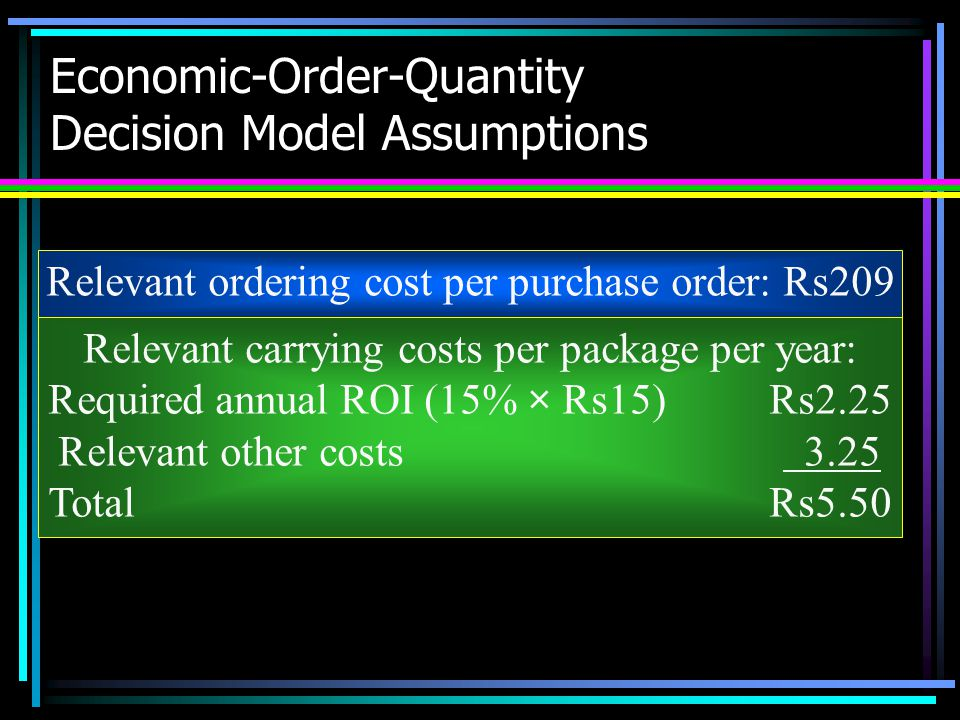Economic-Order-Quantity Decision Model Assumptions Relevant ordering cost per purchase order: Rs209 Relevant carrying costs per package per year: Requ