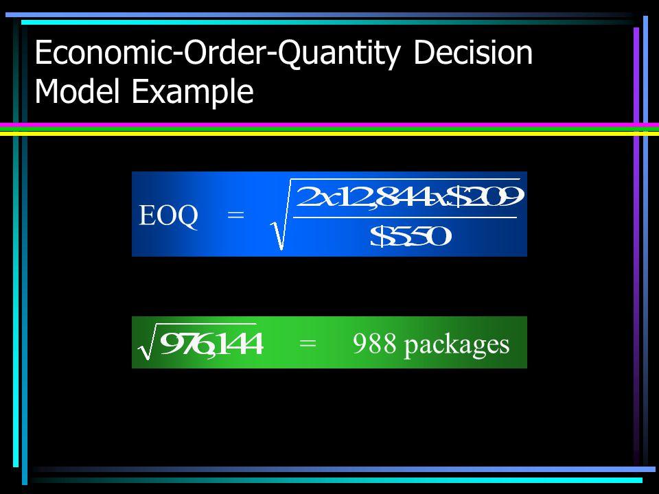Economic-Order-Quantity Decision Model Example = 988 packages EOQ =