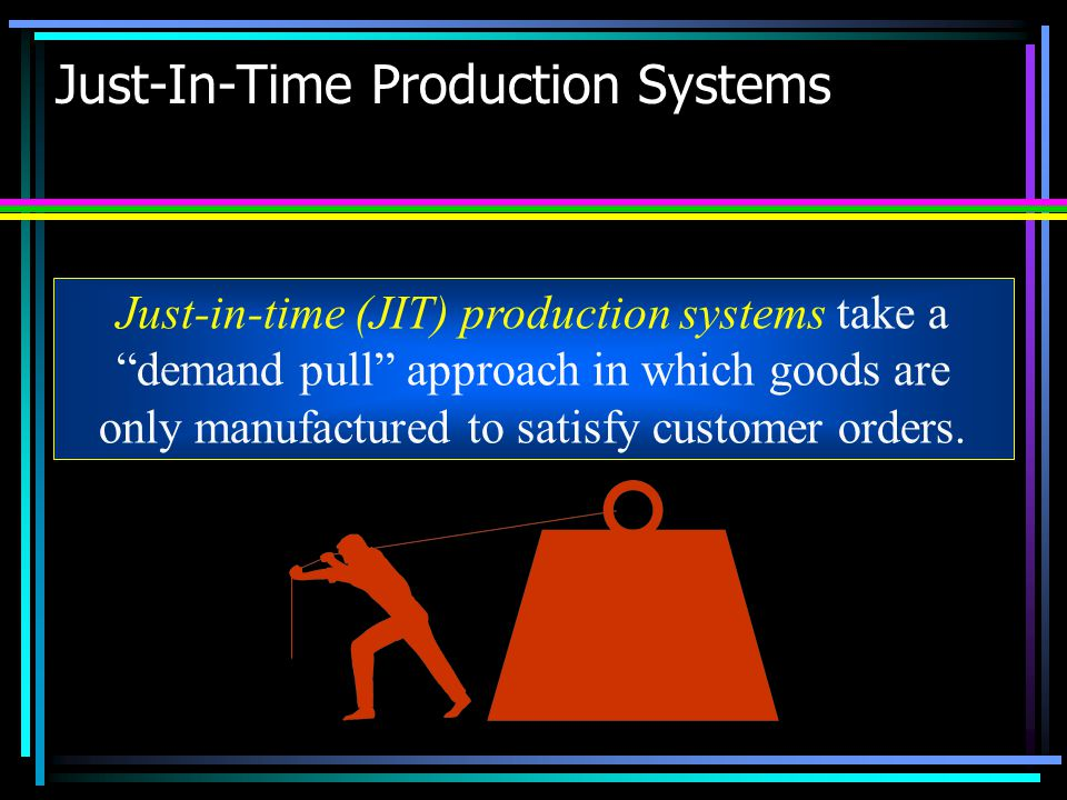"""Just-In-Time Production Systems Just-in-time (JIT) production systems take a """"demand pull"""" approach in which goods are only manufactured to satisfy cu"""