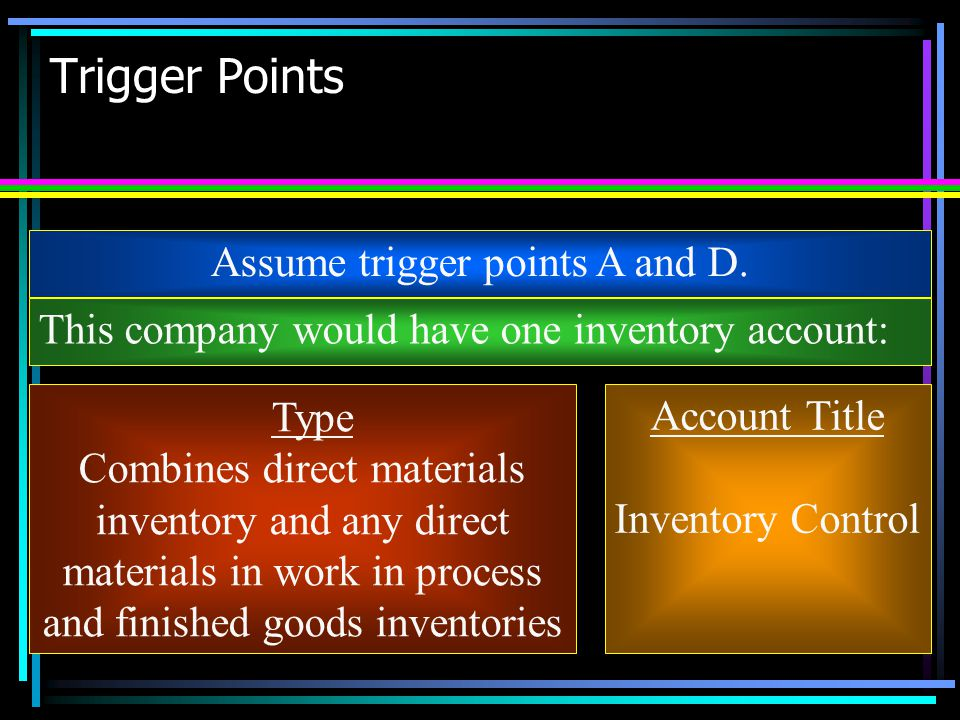 Trigger Points Assume trigger points A and D. This company would have one inventory account: Type Combines direct materials inventory and any direct m