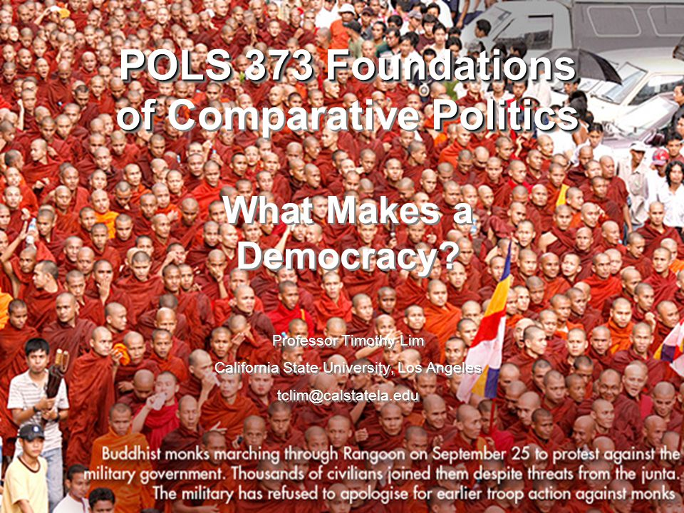 POLS 373 Foundations of Politics POLS 373 Foundations of Comparative Politics What Makes a Democracy.