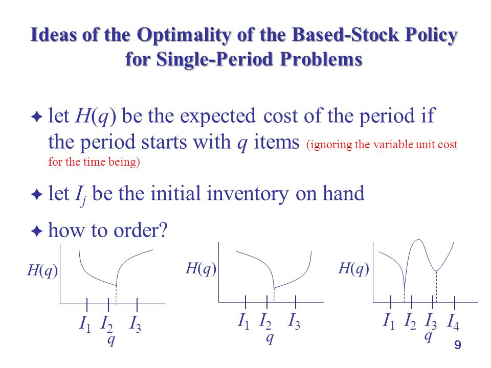 9 Ideas of the Optimality of the Based-Stock Policy for Single-Period Problems  let H(q) be the expected cost of the period if the period starts with