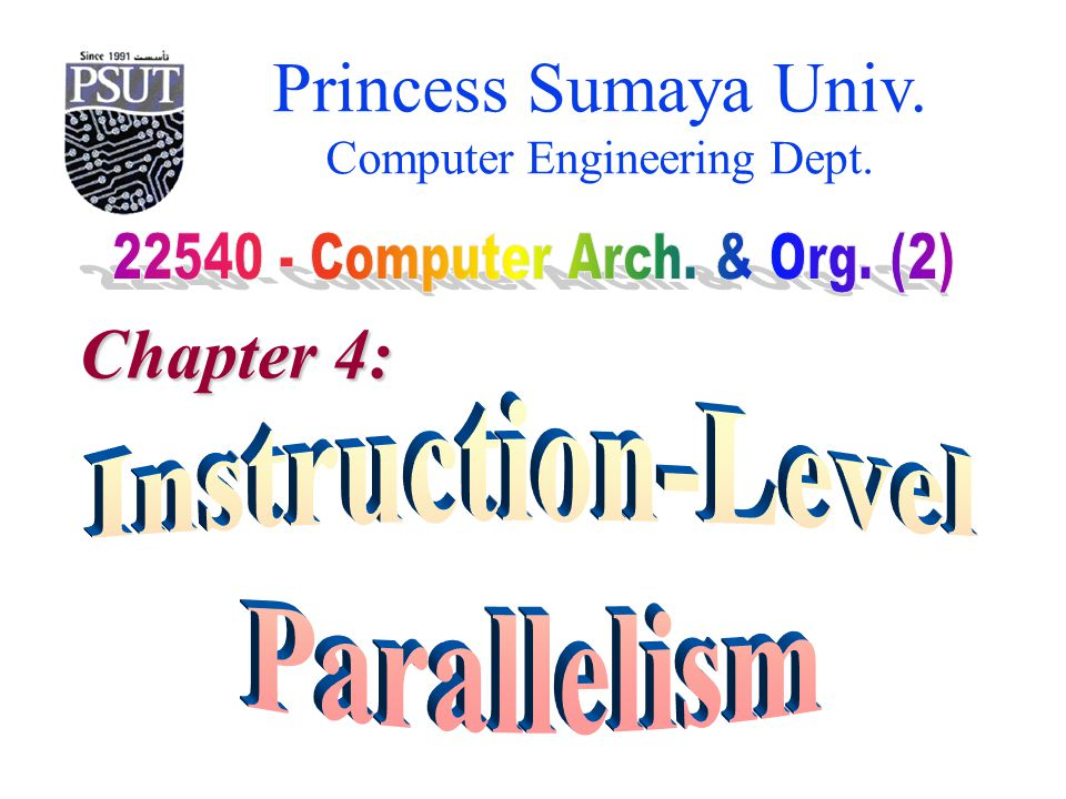 Princess Sumaya University 22540 – Computer Arch. & Org (2) Computer Engineering Dept. Chapter 4