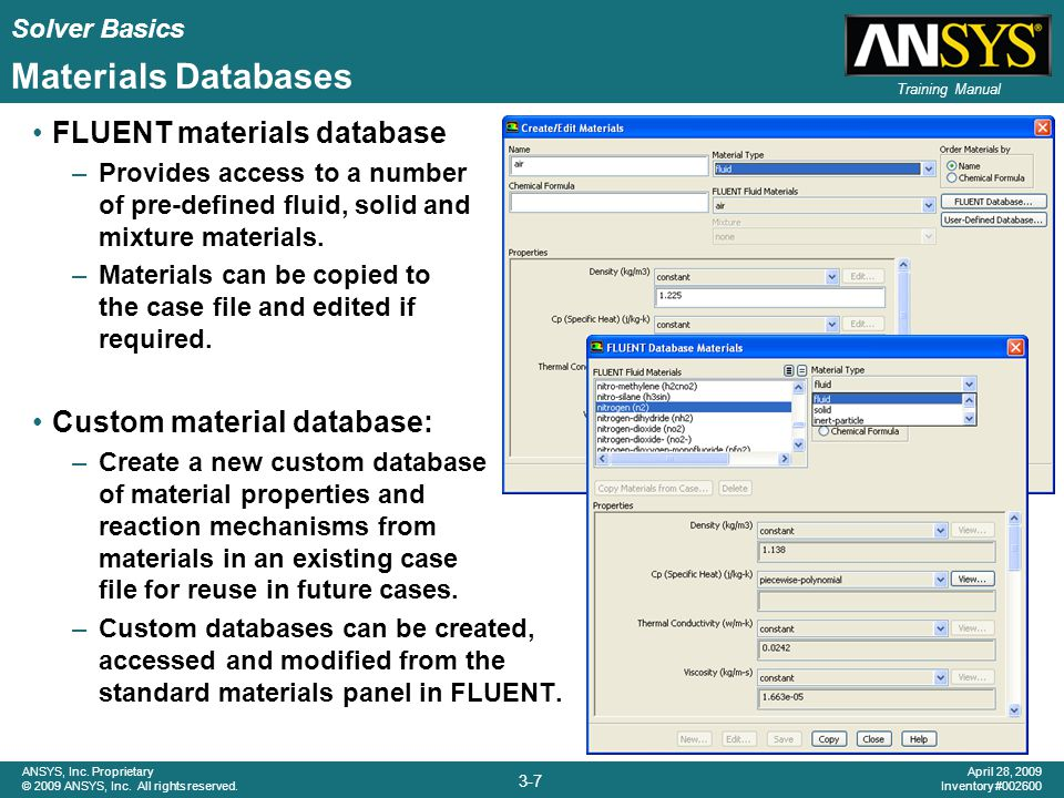 Solver Basics 3-7 ANSYS, Inc. Proprietary © 2009 ANSYS, Inc. All rights reserved. April 28, 2009 Inventory #002600 Training Manual Materials Databases