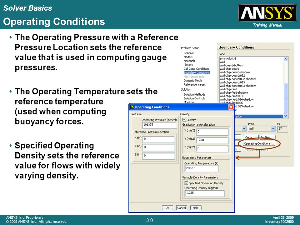 Solver Basics 3-8 ANSYS, Inc. Proprietary © 2009 ANSYS, Inc. All rights reserved. April 28, 2009 Inventory #002600 Training Manual Operating Condition