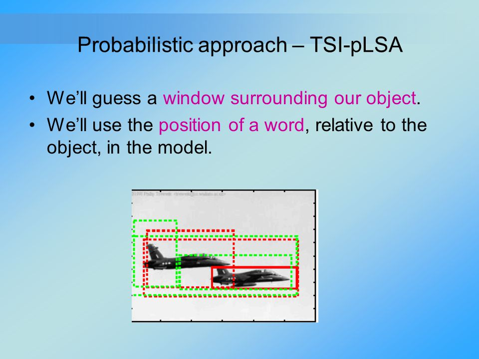 Probabilistic approach – TSI-pLSA We'll guess a window surrounding our object. We'll use the position of a word, relative to the object, in the model.