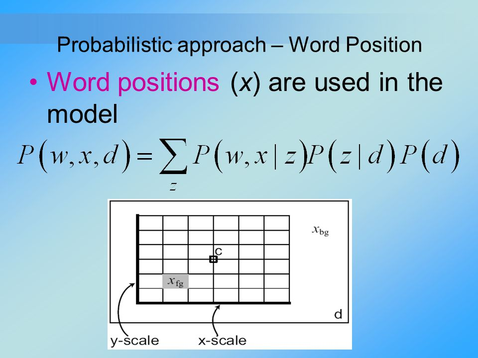Probabilistic approach – Word Position Word positions (x) are used in the model