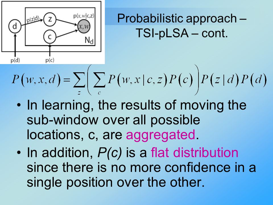 Probabilistic approach – TSI-pLSA – cont. In learning, the results of moving the sub-window over all possible locations, c, are aggregated. In additio