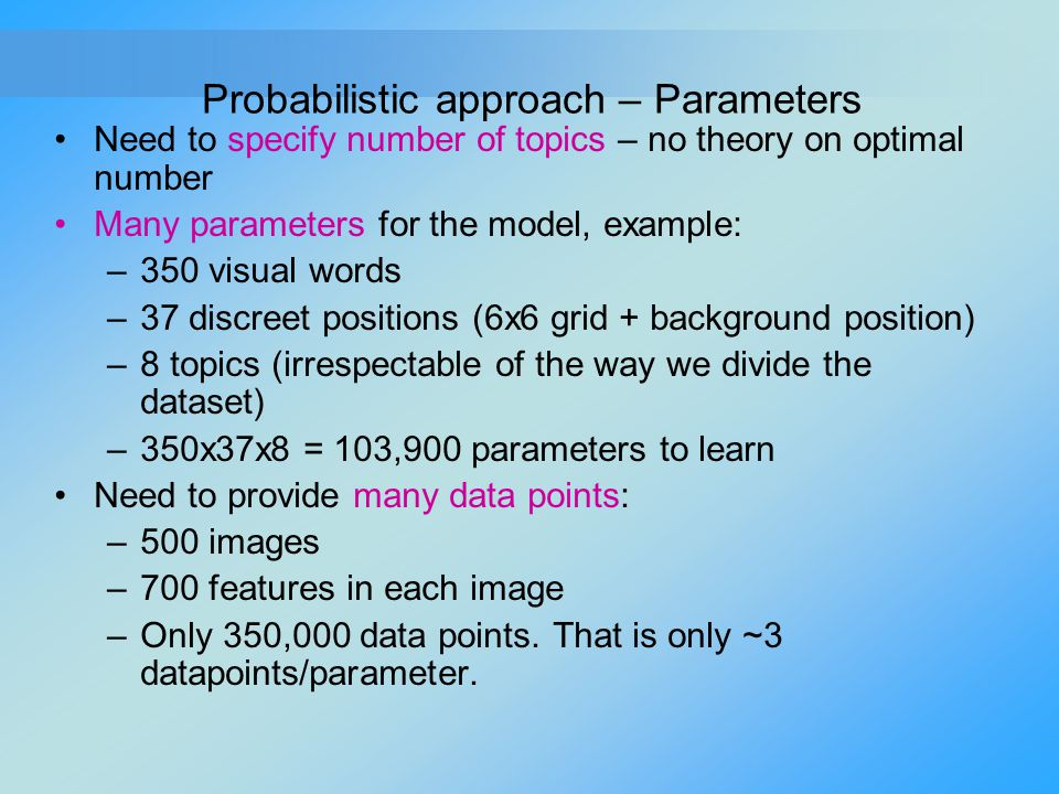 Need to specify number of topics – no theory on optimal number Many parameters for the model, example: –350 visual words –37 discreet positions (6x6 g