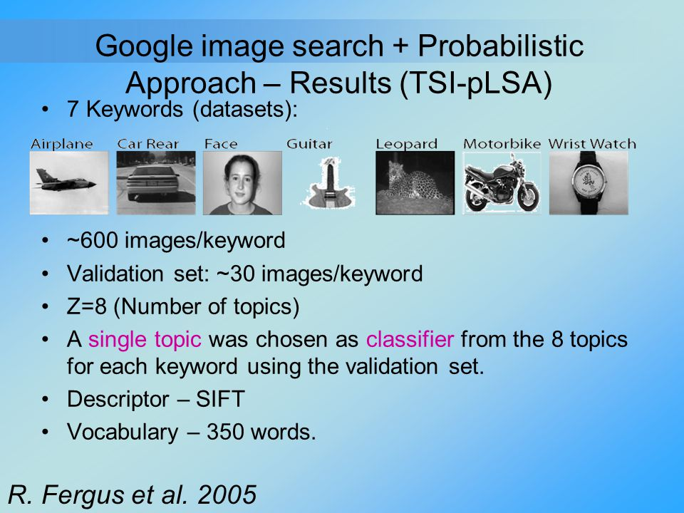 Google image search + Probabilistic Approach – Results (TSI-pLSA) 7 Keywords (datasets): ~600 images/keyword Validation set: ~30 images/keyword Z=8 (N