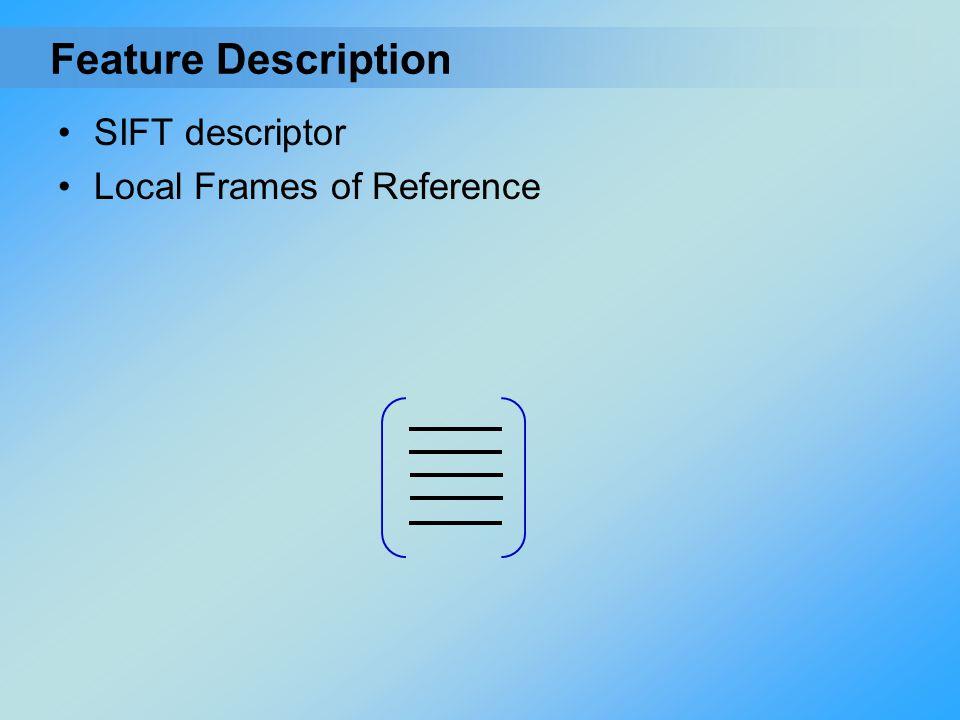 SIFT descriptor Local Frames of Reference Feature Description