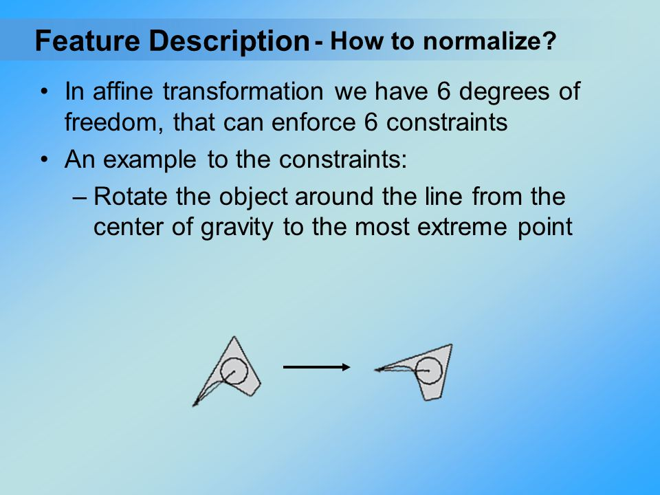 In affine transformation we have 6 degrees of freedom, that can enforce 6 constraints An example to the constraints: –Rotate the object around the lin