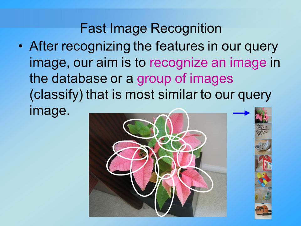 Fast Image Recognition After recognizing the features in our query image, our aim is to recognize an image in the database or a group of images (class