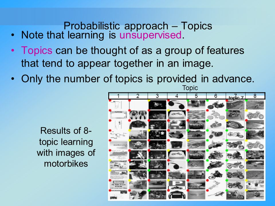 Probabilistic approach – Topics Note that learning is unsupervised. Topics can be thought of as a group of features that tend to appear together in an